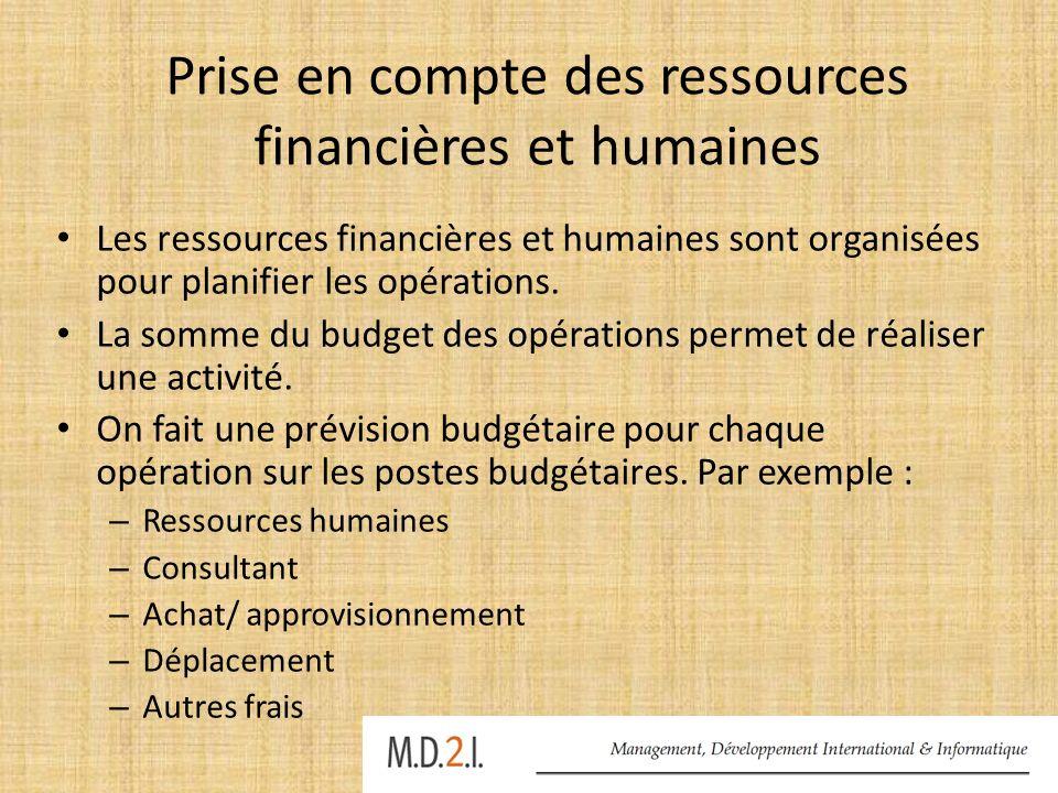 Prise en compte des ressources financières et humaines