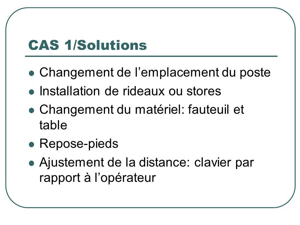CAS 1/Solutions Changement de l'emplacement du poste