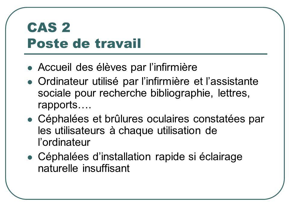 CAS 2 Poste de travail Accueil des élèves par l'infirmière