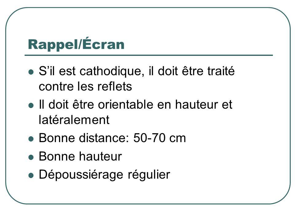 Rappel/Écran S'il est cathodique, il doit être traité contre les reflets. Il doit être orientable en hauteur et latéralement.