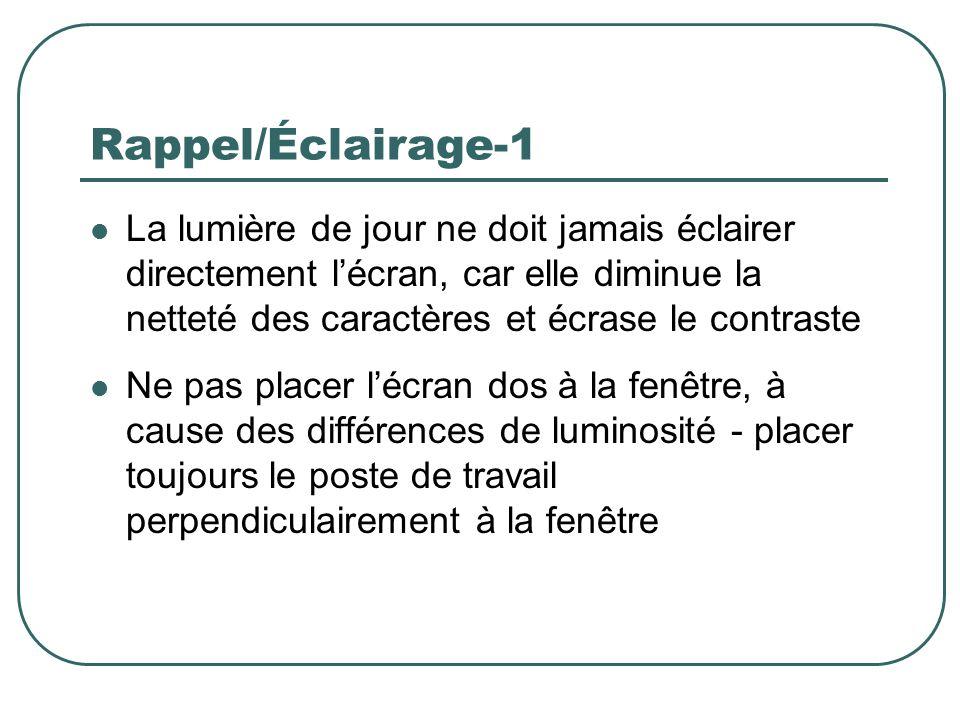 Rappel/Éclairage-1 La lumière de jour ne doit jamais éclairer directement l'écran, car elle diminue la netteté des caractères et écrase le contraste.