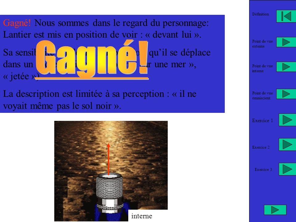Définition Gagné! Nous sommes dans le regard du personnage: Lantier est mis en position de voir : « devant lui ».