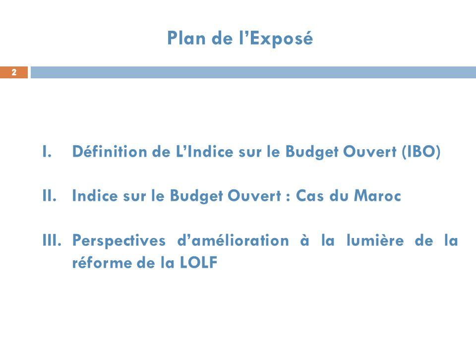 Plan de l'Exposé Définition de L'Indice sur le Budget Ouvert (IBO)