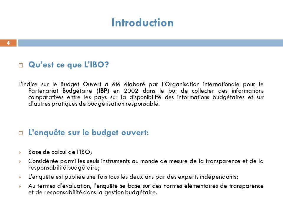Introduction Qu'est ce que L'IBO L'enquête sur le budget ouvert: