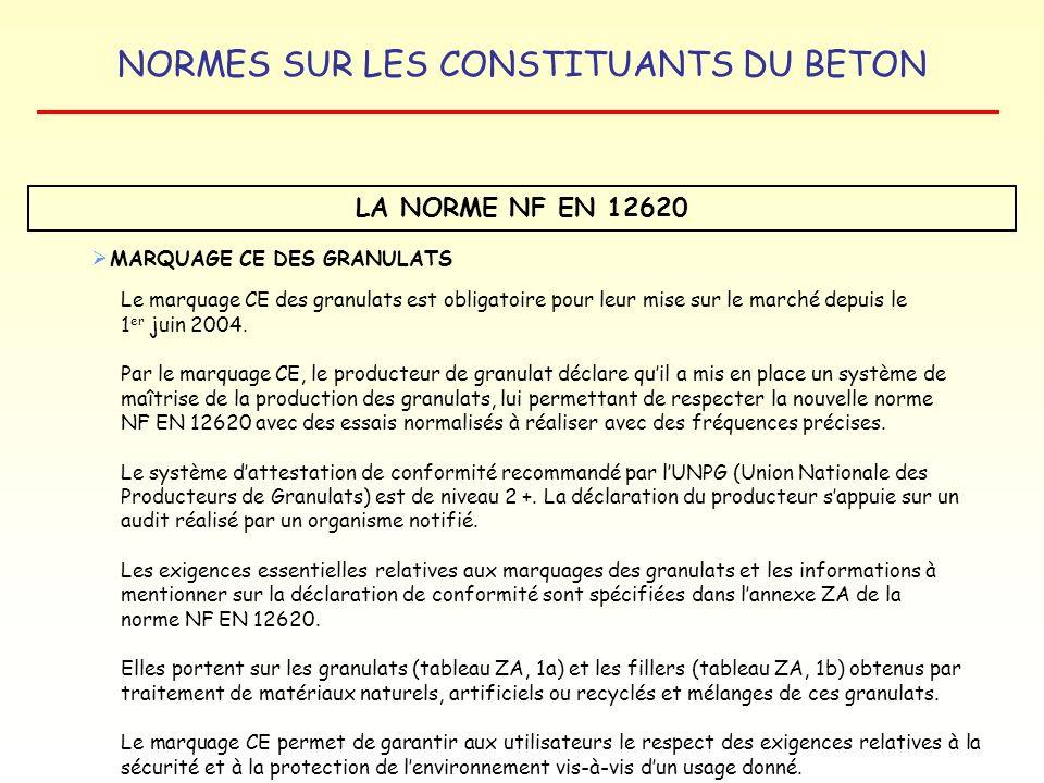 LA NORME NF EN 12620 MARQUAGE CE DES GRANULATS