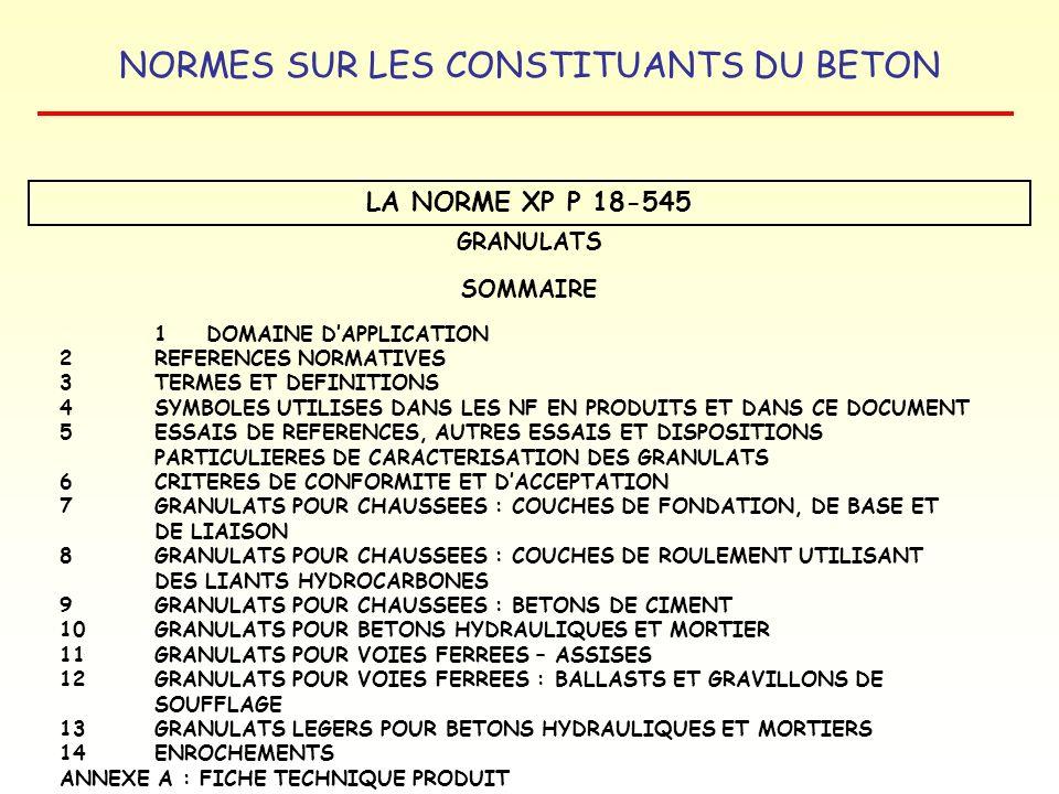 LA NORME XP P 18-545 GRANULATS SOMMAIRE