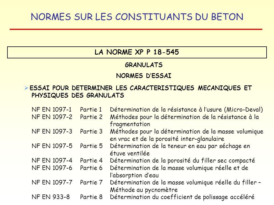 LA NORME XP P 18-545 GRANULATS NORMES D'ESSAI