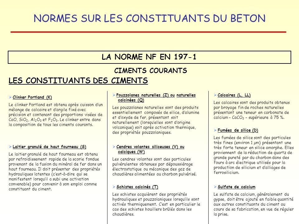 LES CONSTITUANTS DES CIMENTS
