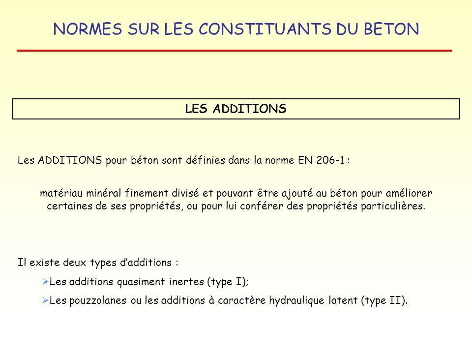 LES ADDITIONS Les ADDITIONS pour béton sont définies dans la norme EN 206-1 :