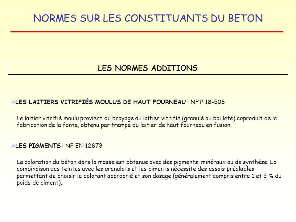 LES NORMES ADDITIONS LES LAITIERS VITRIFIÉS MOULUS DE HAUT FOURNEAU : NF P 18-506.