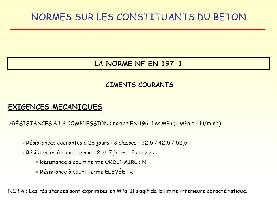 LA NORME NF EN 197-1 EXIGENCES MECANIQUES CIMENTS COURANTS