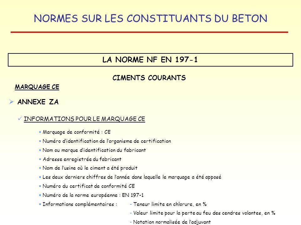 LA NORME NF EN 197-1 CIMENTS COURANTS ANNEXE ZA MARQUAGE CE