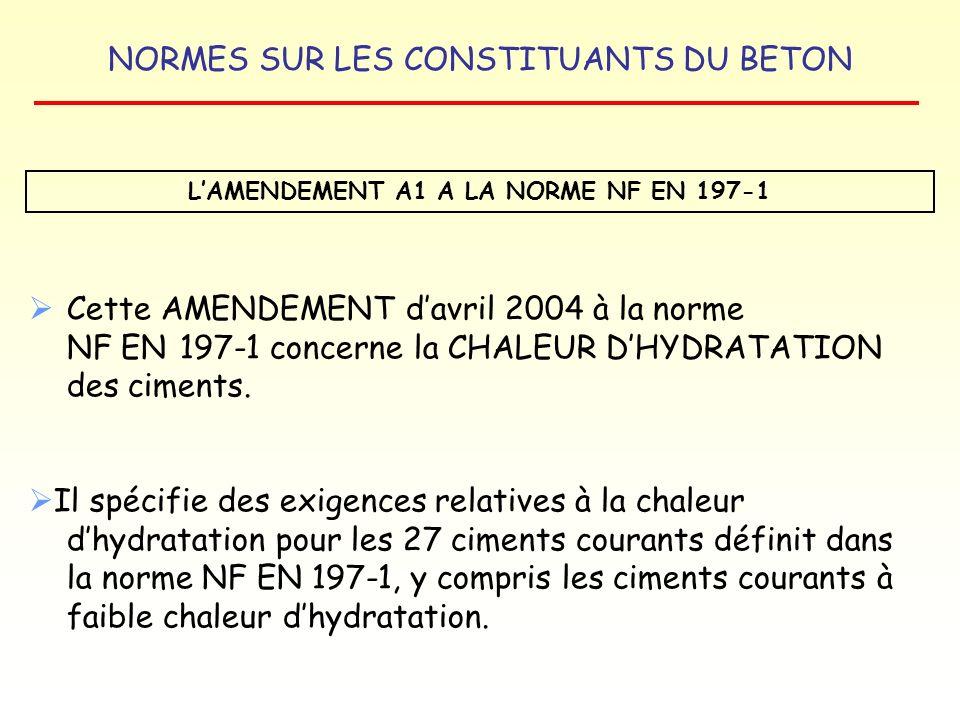 L'AMENDEMENT A1 A LA NORME NF EN 197-1