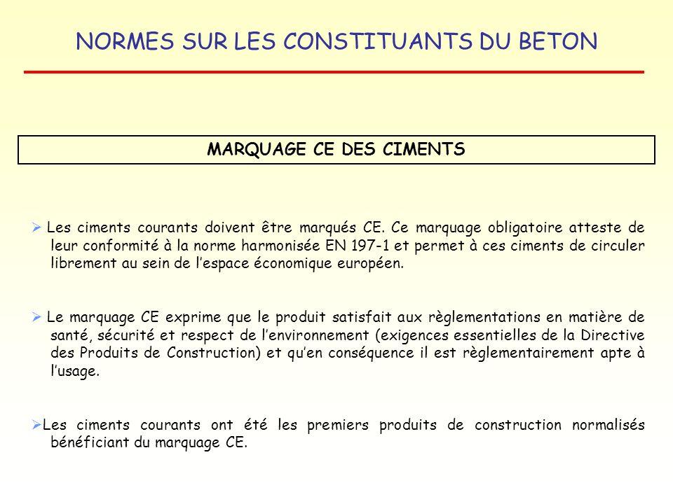 MARQUAGE CE DES CIMENTS