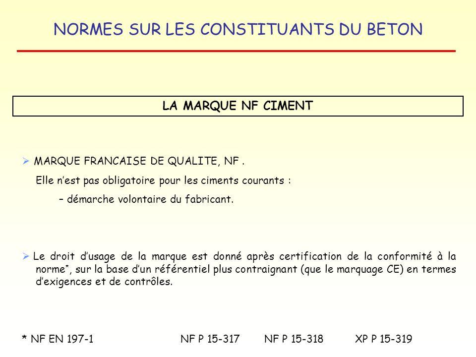 LA MARQUE NF CIMENT MARQUE FRANCAISE DE QUALITE, NF .