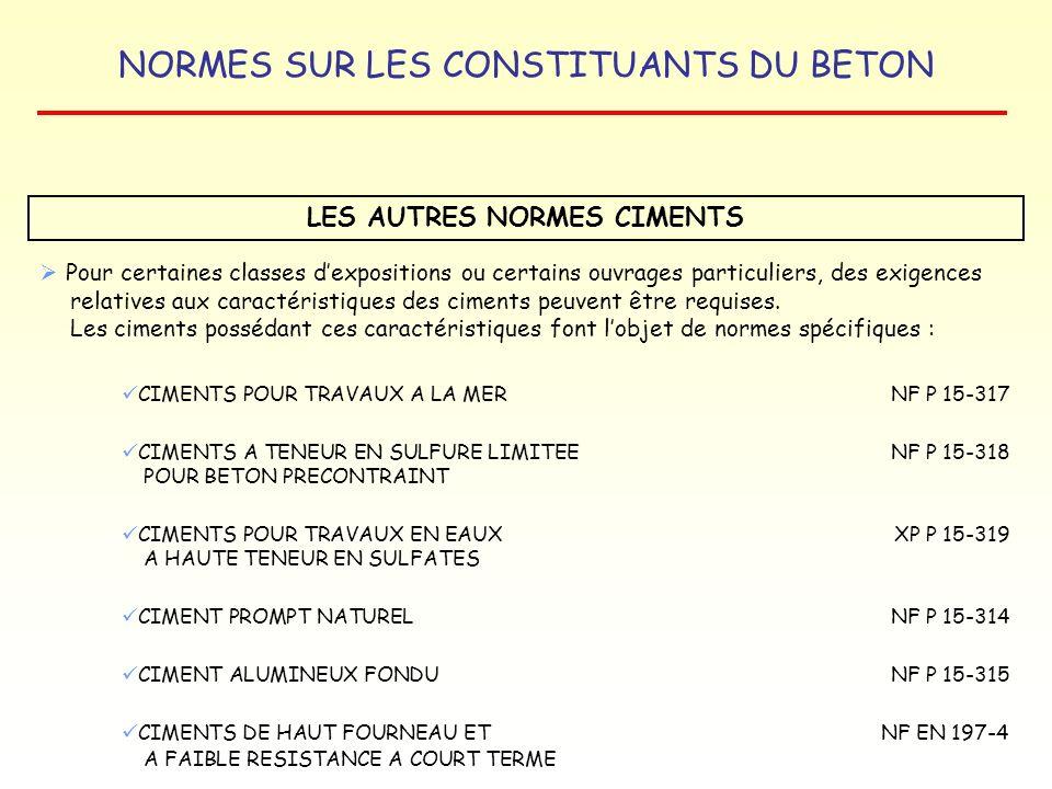 LES AUTRES NORMES CIMENTS