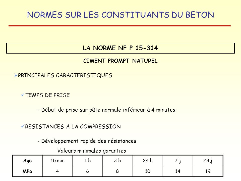 LA NORME NF P 15-314 CIMENT PROMPT NATUREL