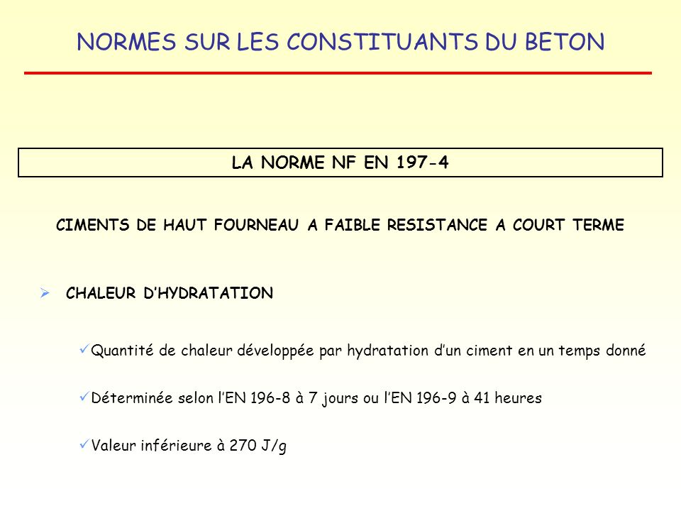 CIMENTS DE HAUT FOURNEAU A FAIBLE RESISTANCE A COURT TERME