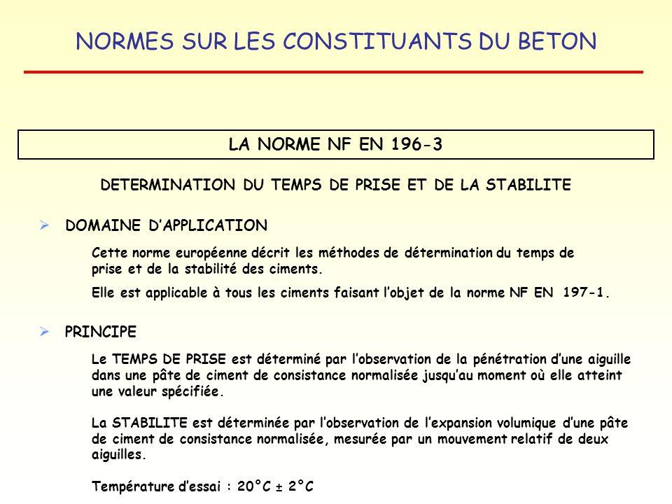 DETERMINATION DU TEMPS DE PRISE ET DE LA STABILITE