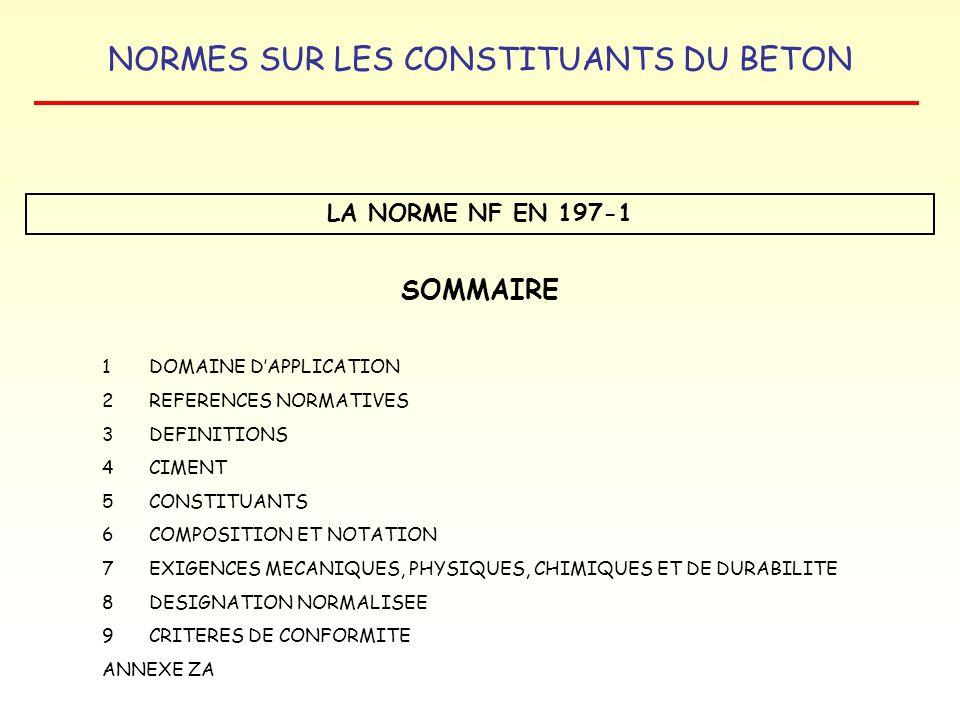SOMMAIRE LA NORME NF EN 197-1 1 DOMAINE D'APPLICATION