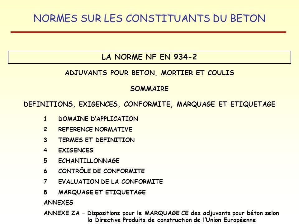 LA NORME NF EN 934-2 ADJUVANTS POUR BETON, MORTIER ET COULIS SOMMAIRE
