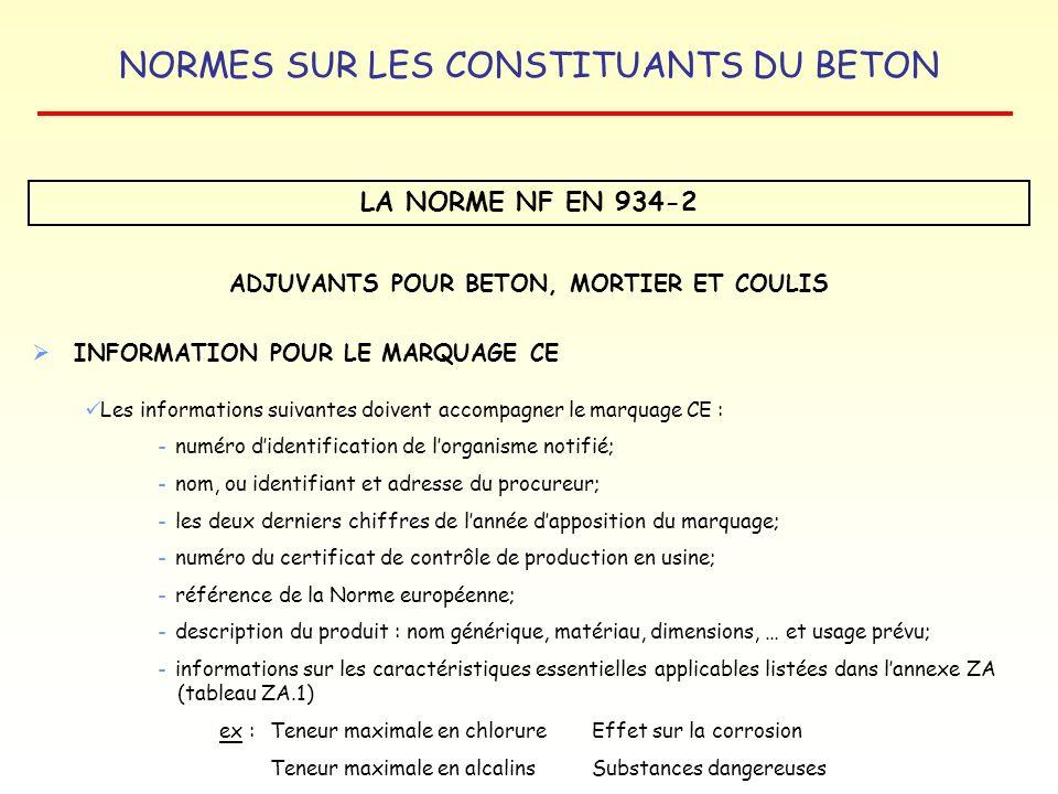 ADJUVANTS POUR BETON, MORTIER ET COULIS