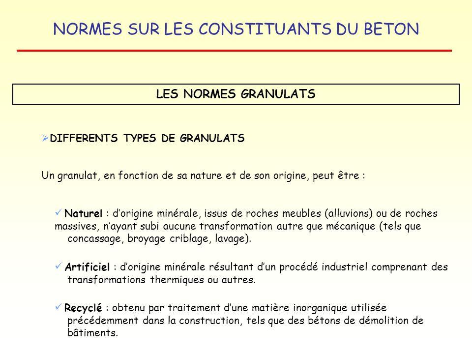LES NORMES GRANULATS DIFFERENTS TYPES DE GRANULATS
