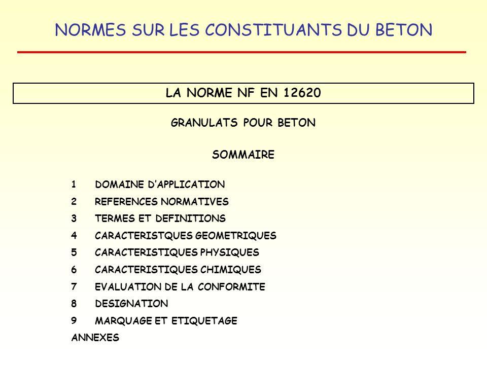 LA NORME NF EN 12620 GRANULATS POUR BETON SOMMAIRE