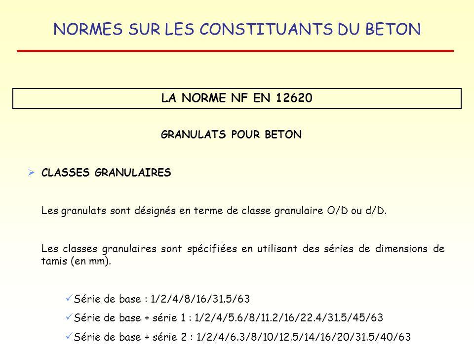 LA NORME NF EN 12620 GRANULATS POUR BETON CLASSES GRANULAIRES