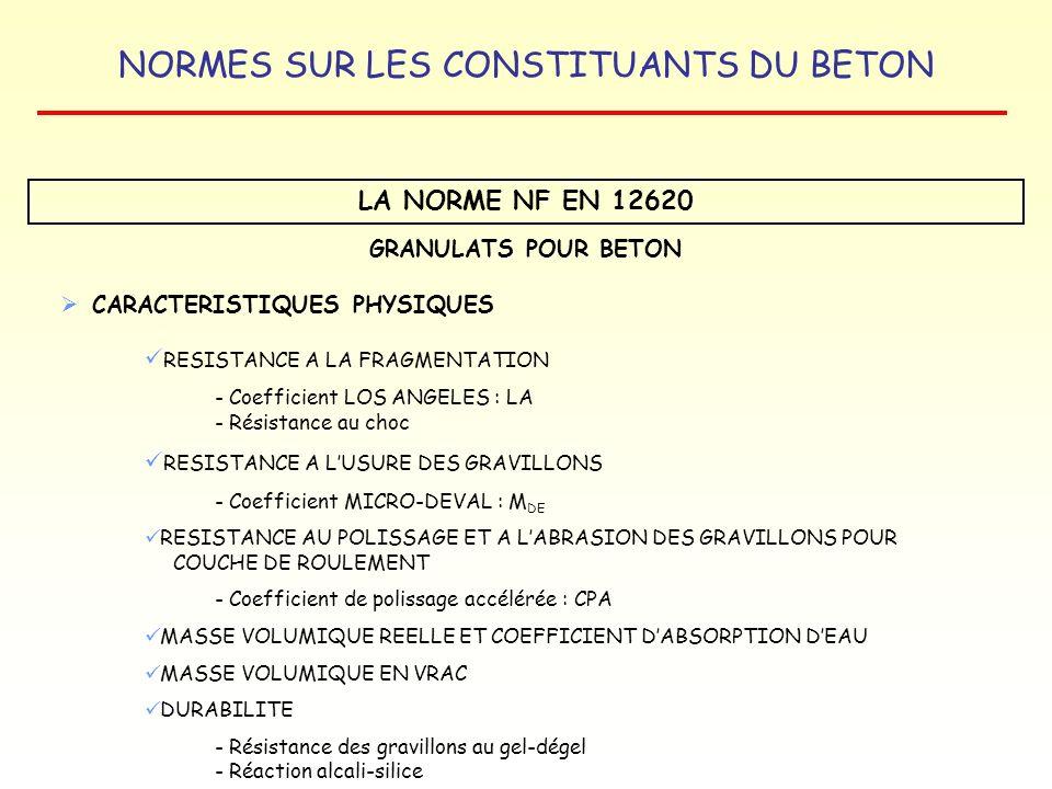 LA NORME NF EN 12620 GRANULATS POUR BETON CARACTERISTIQUES PHYSIQUES