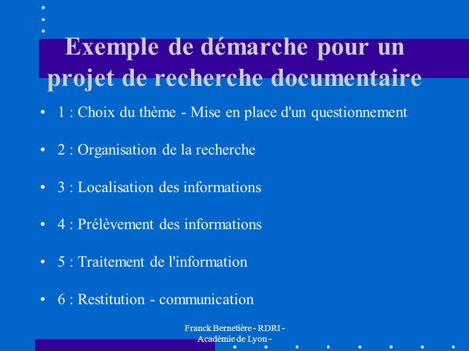 Exemple de démarche pour un projet de recherche documentaire