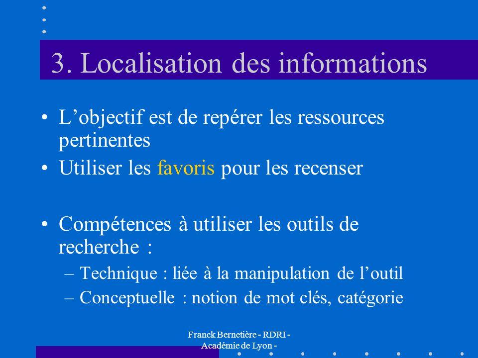 3. Localisation des informations