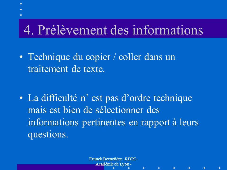 4. Prélèvement des informations