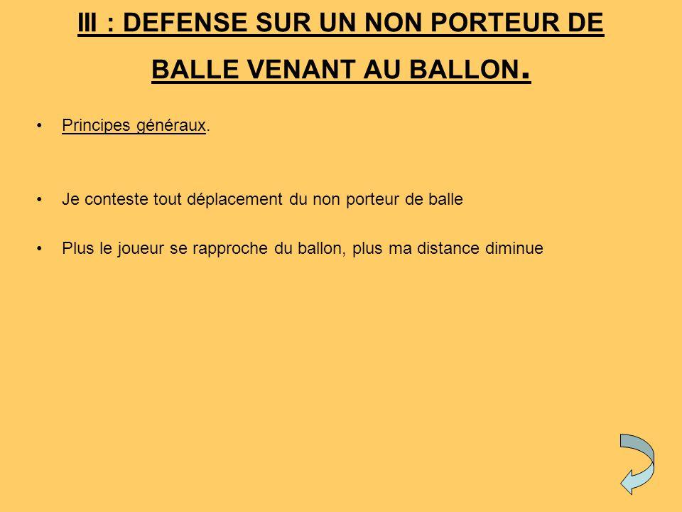 III : DEFENSE SUR UN NON PORTEUR DE BALLE VENANT AU BALLON.