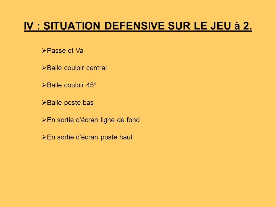 IV : SITUATION DEFENSIVE SUR LE JEU à 2.