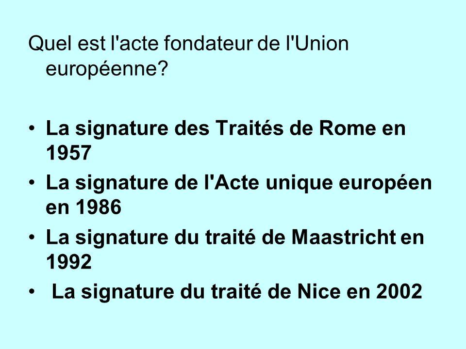 Quel est l acte fondateur de l Union européenne