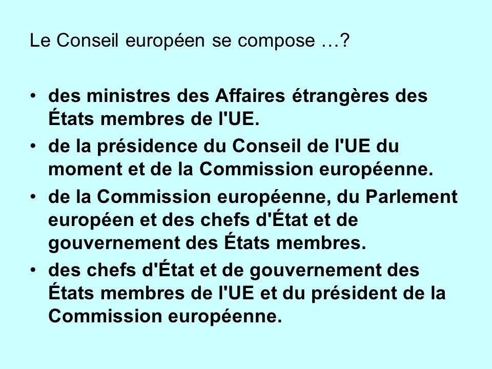 Le Conseil européen se compose …