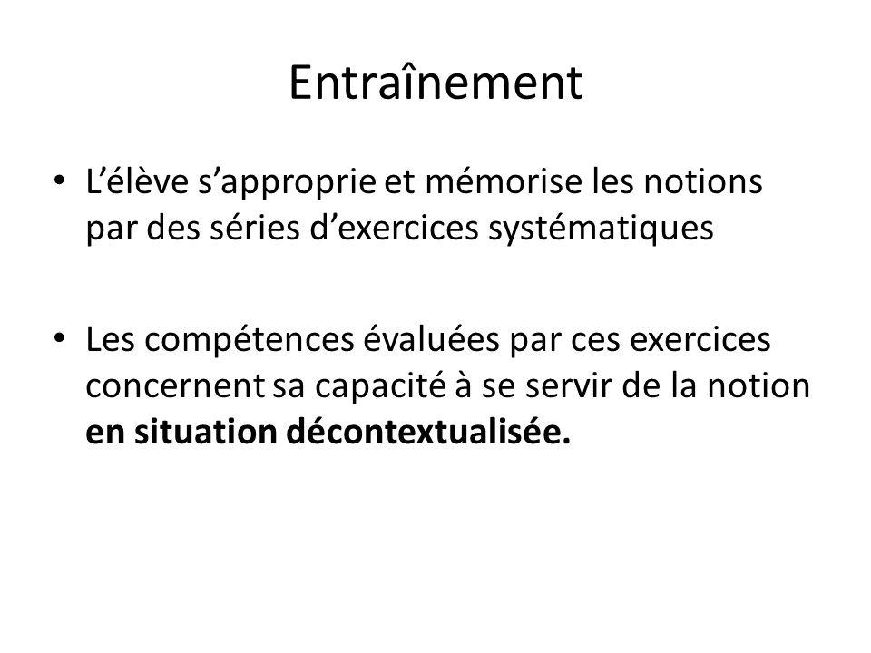 Entraînement L'élève s'approprie et mémorise les notions par des séries d'exercices systématiques.