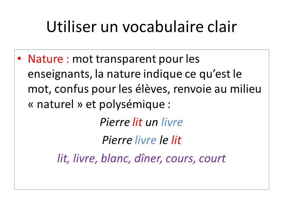 Utiliser un vocabulaire clair