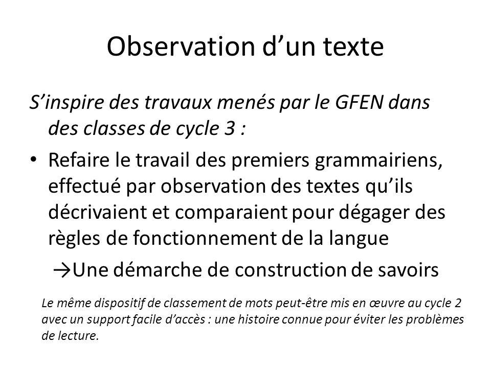 Observation d'un texte