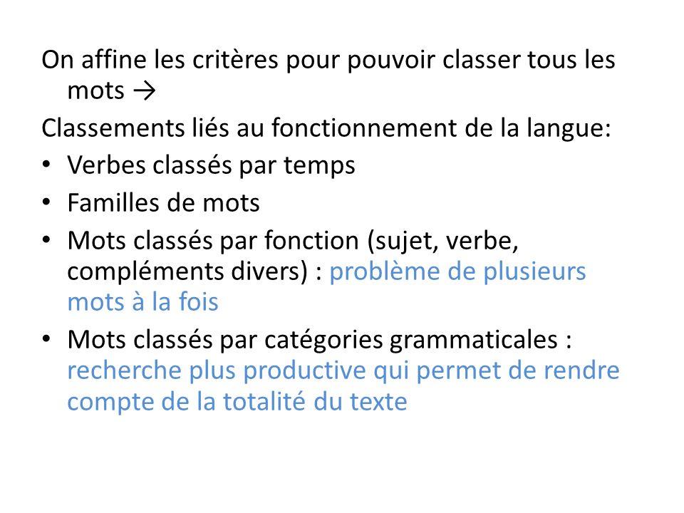 On affine les critères pour pouvoir classer tous les mots →