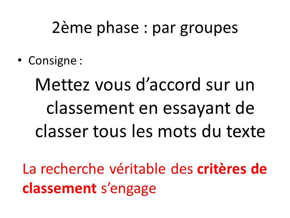 2ème phase : par groupes Consigne : Mettez vous d'accord sur un classement en essayant de classer tous les mots du texte.