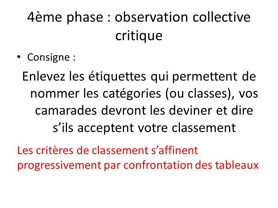 4ème phase : observation collective critique