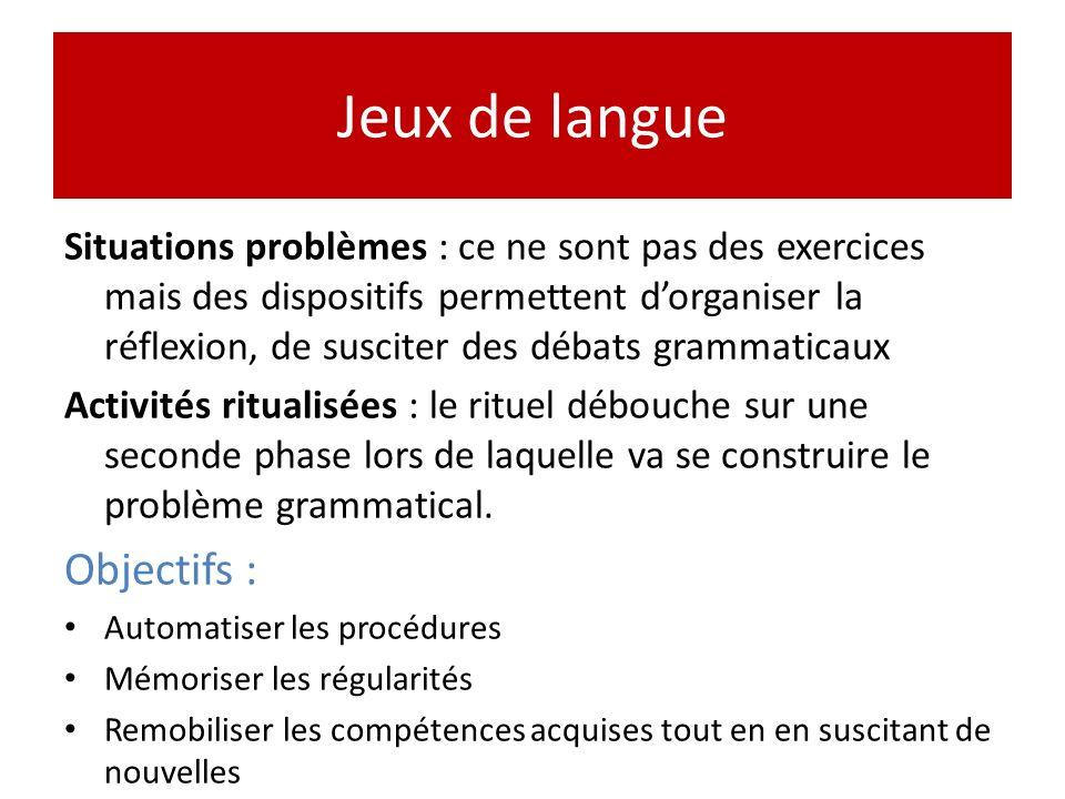 Jeux de langue Objectifs :