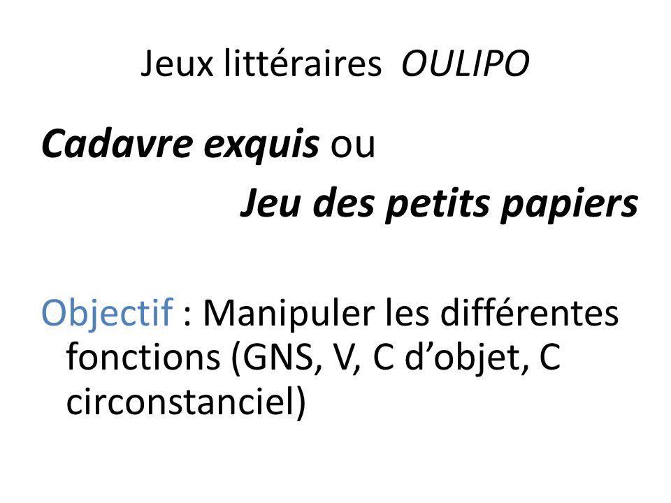 Jeux littéraires OULIPO