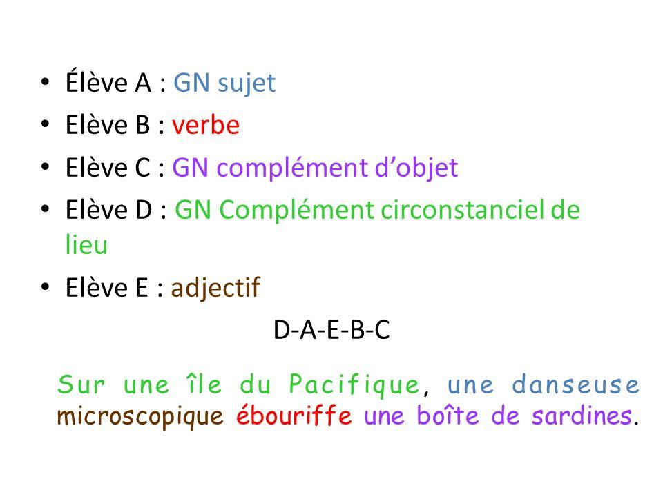 Elève C : GN complément d'objet