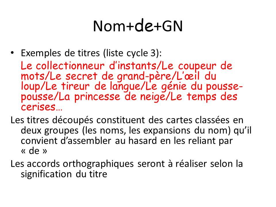 Nom+de+GN Exemples de titres (liste cycle 3):