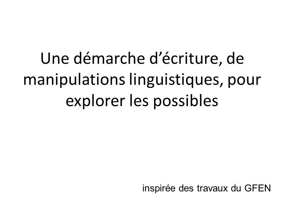 Une démarche d'écriture, de manipulations linguistiques, pour explorer les possibles
