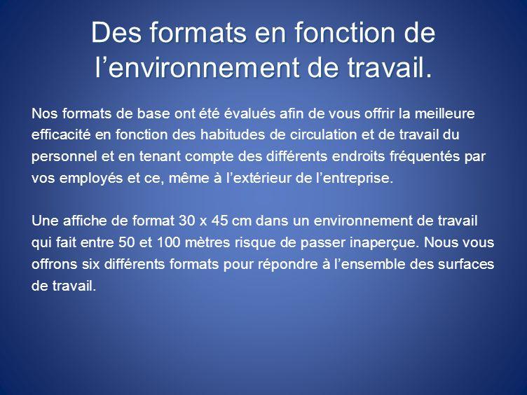 Des formats en fonction de l'environnement de travail.