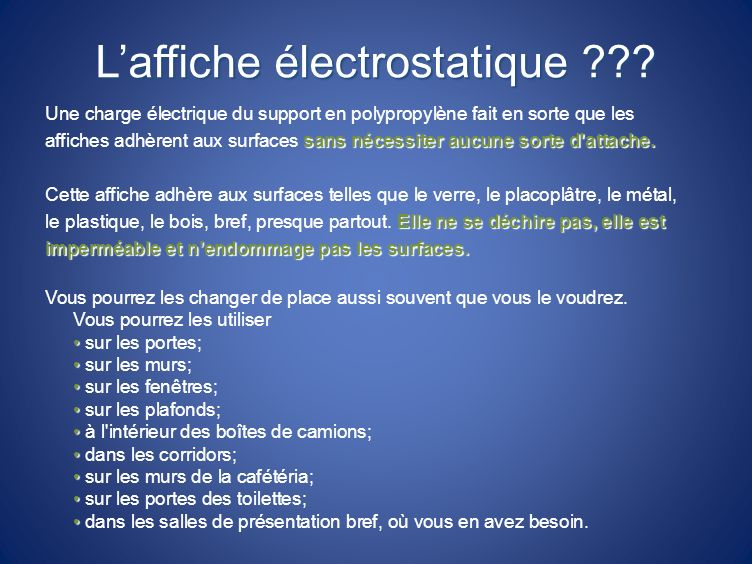 L'affiche électrostatique